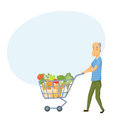Older men with shopping cart