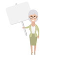 Older woman with banner illustration of old on white background Stock Images