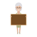 Older woman with board illustration of old on white background Royalty Free Stock Photos