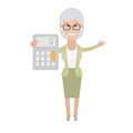 Older woman with a calculator illustration of old on white background Stock Image