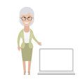Older woman with laptop illustration of old on white background Stock Photo