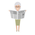 Older woman with newspaper illustration of old on white background Stock Images