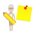 Older woman with a pencil illustration of old on white background Stock Image