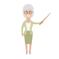 Older woman with a pointer illustration of old on white background Stock Photos