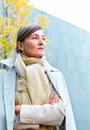 Older woman standing alone with copyspace Royalty Free Stock Images