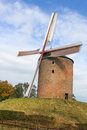 The oldest dutch windmill grain on a small hill Royalty Free Stock Photos