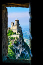 Oldest three towers san marino called guaita situated picturesque hill cliff Royalty Free Stock Photos