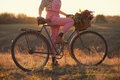 Oldfashioned girl and bike Royalty Free Stock Photo