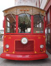 Oldfashioned red trolley bus front on this is a picture of a taken from the only highlighting the old wooden features of this it Royalty Free Stock Photos