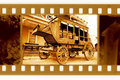 Oldies 35mm frame photo with old cart Royalty Free Stock Image