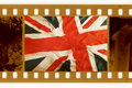 Oldies 35mm with old UK flag Royalty Free Stock Images
