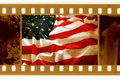 Oldies 35mm with old USAflag Royalty Free Stock Photo