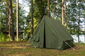 Oldschool soviet tent in nothern forest good summer day Stock Images