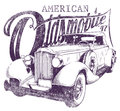 Oldsmobile vector illustration ideal for printing on apparel clothes Royalty Free Stock Images