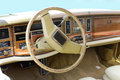 Oldtimer car dashboard and steering wheel vintage Stock Image