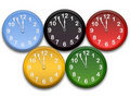 Olimpic clocks Stock Photo