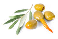 Olive branch and the stuffed olives pepper garlic isolated Royalty Free Stock Photo
