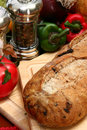 Olive Bread Loaf in Kitchen Royalty Free Stock Photography