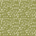 Olive floral pattern with shadow - seamless vector Royalty Free Stock Photo