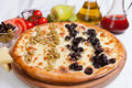 Olive focaccia pizza Stock Photography