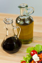 Olive Oil & Balsamic Vinegar With Fresh Salad Royalty Free Stock Photo