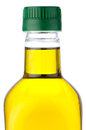 Olive oil bottle closeup Royalty Free Stock Photos