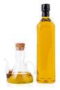 Olive oil bottle and jar of on a white background Stock Photos