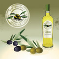 Olive oil bottle, label and olives Royalty Free Stock Images