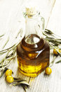Olive oil bottle with leaves and fresh green olives Royalty Free Stock Photography