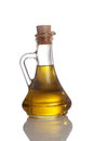 Olive oil a bottle of on white bakground Stock Photos