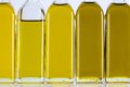 Olive Oil Bottles in a Row and Different Shades Royalty Free Stock Photo