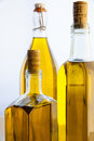 Olive oil bottles on white background Royalty Free Stock Photo