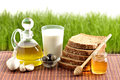 Olive oil,  bread, garlic Royalty Free Stock Photo