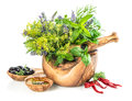 Olive oil with fresh herbs and spieces dill, rosemary, basil, mi
