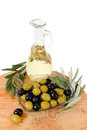 Olive oil , green and black olives isolated on a white backgroun Royalty Free Stock Photo