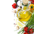 Olive oil and ingredients Stock Photos