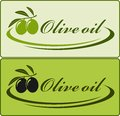 Olive oil label two with decorative lines Royalty Free Stock Photo