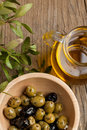 Olive oil with olives Stock Image