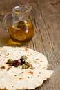 Olive oil with olives and bread Royalty Free Stock Images
