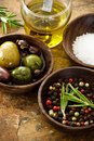 Olive oil, peppercorn, sea salt Stock Image