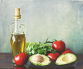 Olive oil and salad ingredients Stock Image