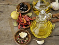 Olive Oil And Spices Stock Photography