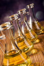 Olive oils in bottles with ingriedients composition of Stock Photo