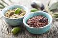 Olive paste bowls with fresh made from kalamata olives Stock Photography