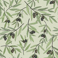Olive seamless pattern floral nature food ingredient old fashioned wallpaper hand drawn branch background fashion decorative Stock Photo
