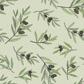Olive seamless pattern nature food wallpaper hand drawn branch background old fashion floral decorative texture for label pack Royalty Free Stock Photos