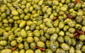 Olives backgrounds green at the street market Royalty Free Stock Photo