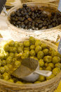 Olives on Display in a French Market Stock Photo