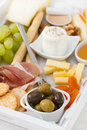 Olives with fresh cheese honey nuts and grape Stock Photo
