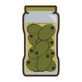 Olives in jar preserve food